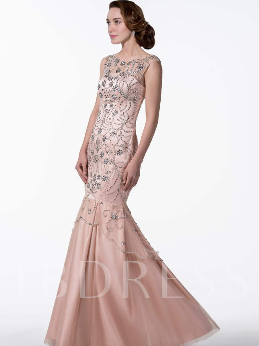 Glow Of Trumpet Beading Floor-Length Scoop Evening Dress