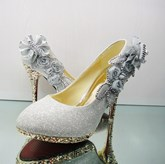 Flowers Sequins High Heel Rhinestone Bridal Shoes