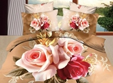 3D Red and Pink Roses Printed Cotton 4-Piece Bedding Sets/Duvet Covers