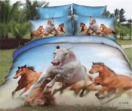 Running Horses Printed Rustic Style Cotton 3D 4-Piece Bedding Sets/Duvet Covers