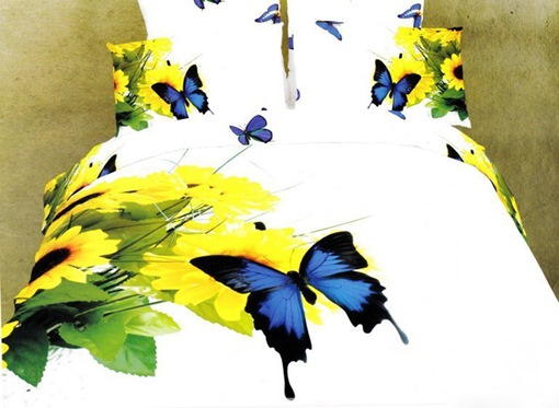 Sunflower and Blue Butterfly Printed Cotton 4-Piece 3D White Bedding Sets/Duvet Covers