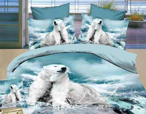 3D Polar Bear Printed Cotton 4-Piece Blue Bedding Sets/Duvet Covers