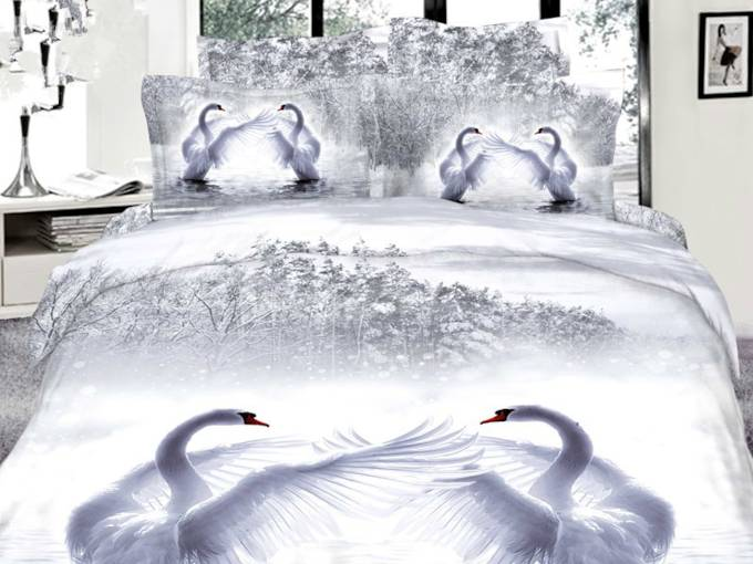 White Swans Printed Cotton 4-Piece 3D Bedding Sets/Duvet Covers