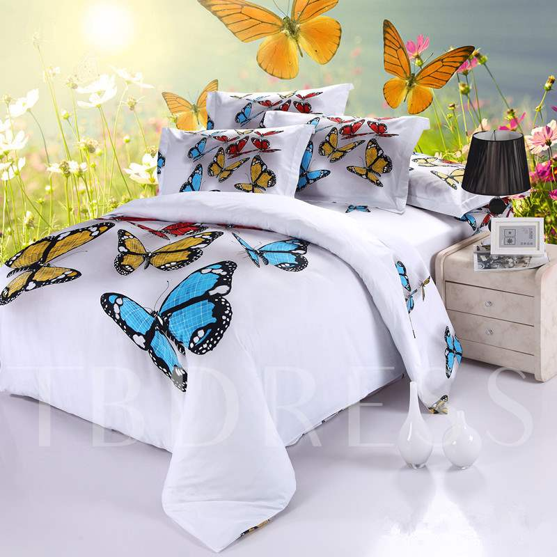 Colorful Butterflies Cotton 4-Piece White 3D Bedding Sets/Duvet Covers