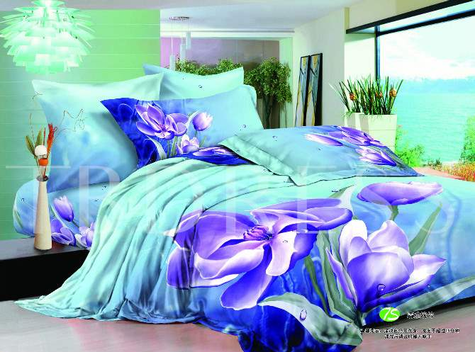 Purple Clematis Florida Cotton 4-Piece 3D Bedding Sets/Duvet Covers