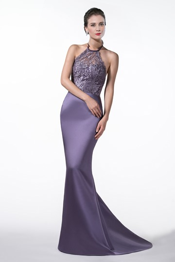 Halter Mermaid Lace Evening Dress