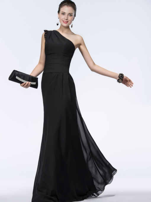 A-line Ruched One-Shoulder Evening Dress