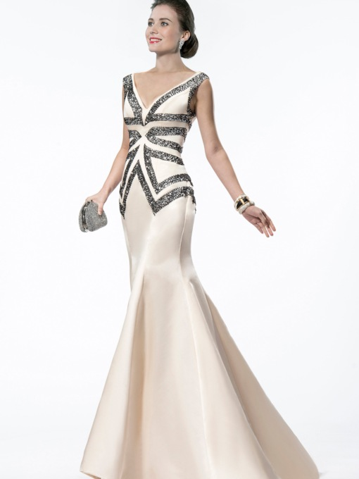 Mermaid V-Neck Beading Evening Dress