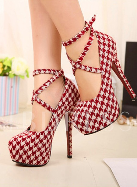 Top Quality Round Toe Lace-Up Plaid Stiletto Platform Women Pumps