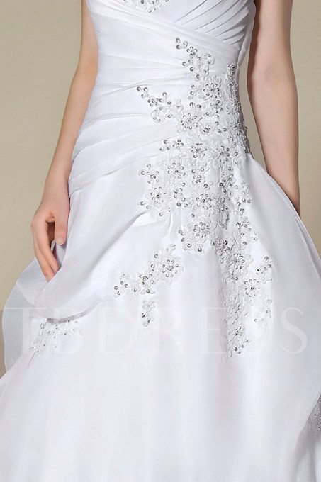 Strapless Beading Lace-Up Court Train A-Line Wedding Dress