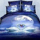 3D Swan Couple and the Moon Printed Cotton 4-Piece Bedding Sets/Duvet Covers