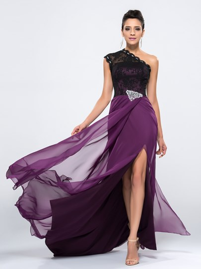 One-Shoulder Beading Lace Split-Front Evening Dress