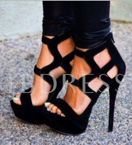 Black Open Toe Stiletto Heel Women Pumps