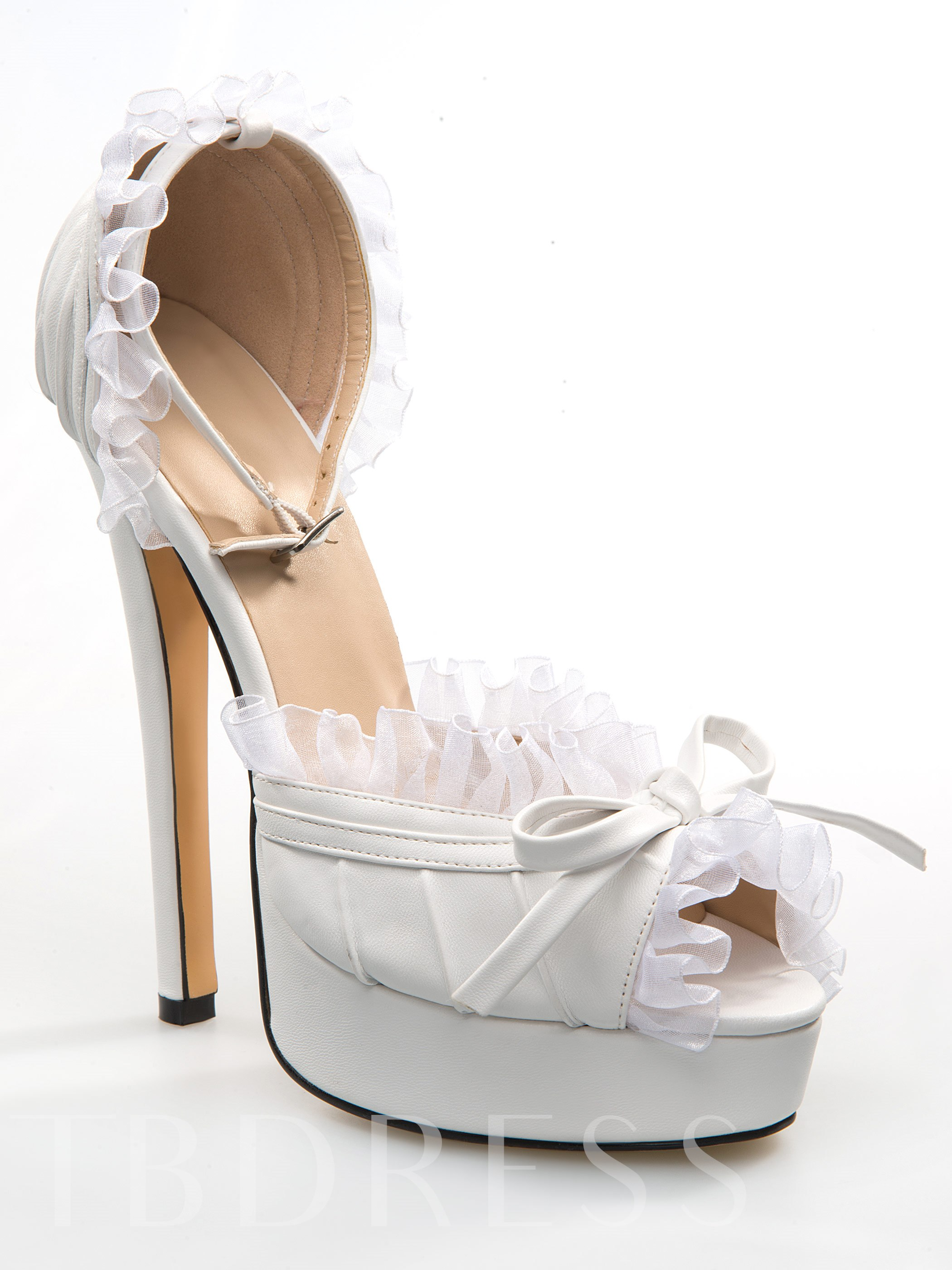 White PU Peep Toe Ankle Strap High Heel Shoes & Wedding Shoes