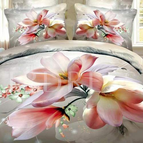 3D Pink Magnolia Printed Cotton 4-Piece Bedding Sets/Duvet Cover