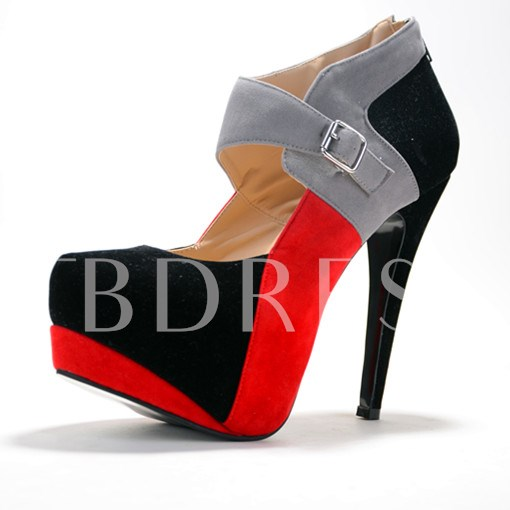 Round Toe Zipper Color Block Stiletto Heel Platform Women's Boots