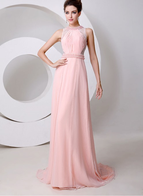 The Jewel Neck Pearls A-Line Floor Length Evening Dress