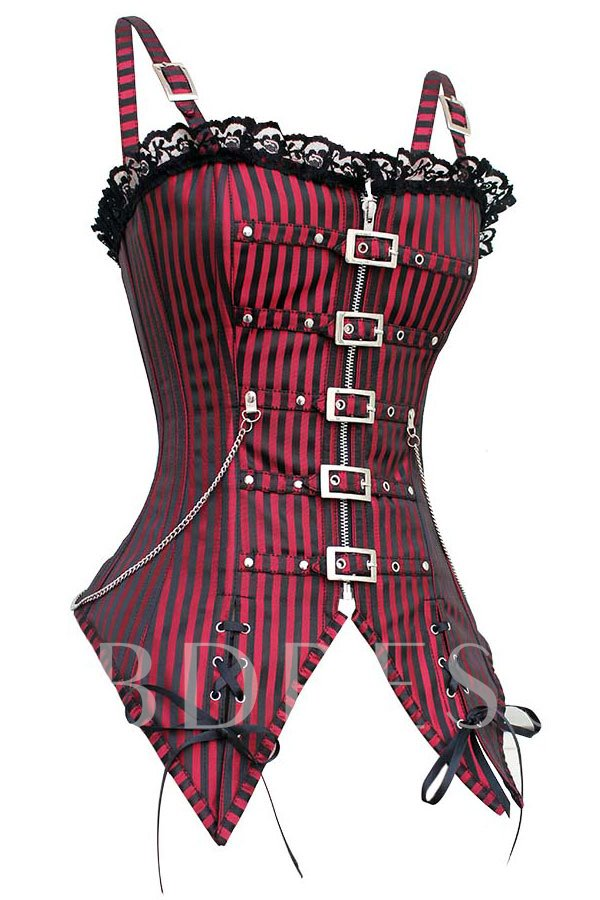 Red Striped Gothic Punk Overbust Corset Bustier
