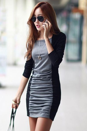 Block Long Sleeve Cotton Women's Sheath Dress