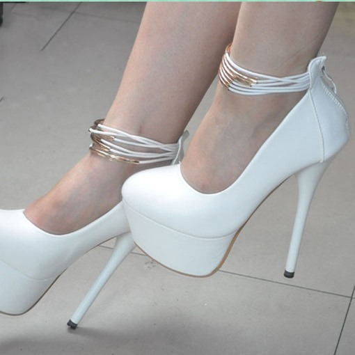 Platform Stiletto Heel Round Toe Zipper Women's Pumps