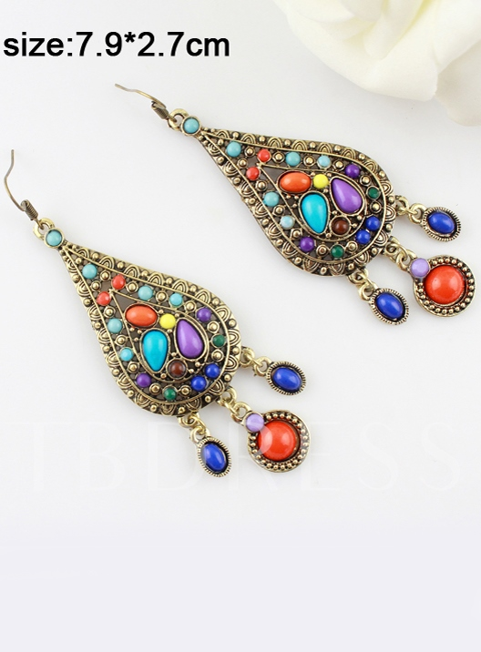 Color Block Bohemian Alloy Earrings