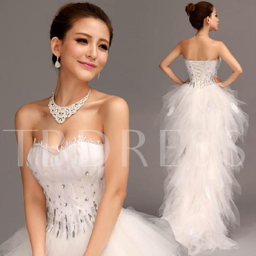 A-line Asymmetry Court Sweetheart Lace-up beads Wedding Dress