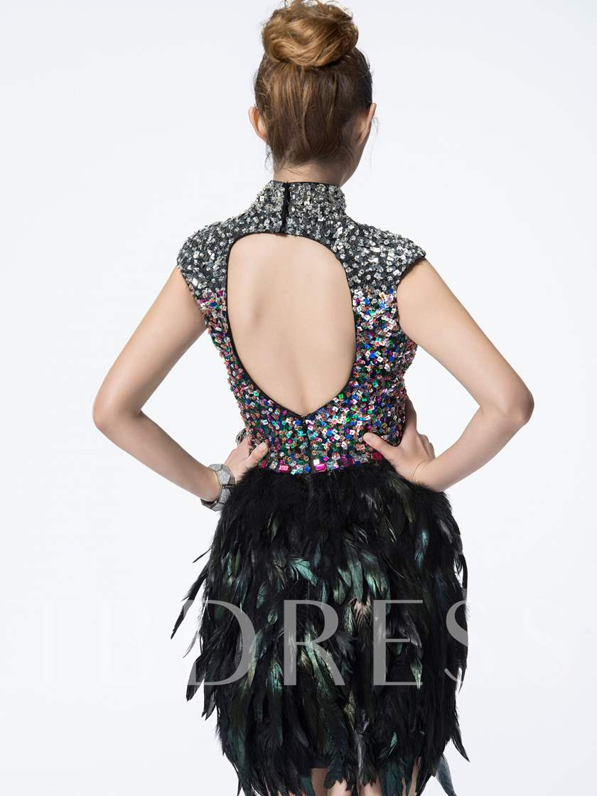 Sheath High Neck Backless Sequins Feathers Mini Cocktail Dress