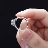 Large Square Diamond-Shaped Silver Women's Ring