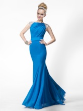 Trumpet Floor-length Bateau Beading Evening Dress