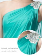 Ruched One-Shoulder Rhinestone A-Line Evening Dress