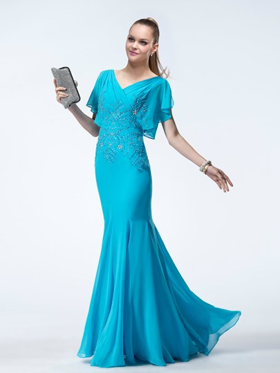Trumpet Short Sleeves V-Neck Zipper-Up Evening Dress