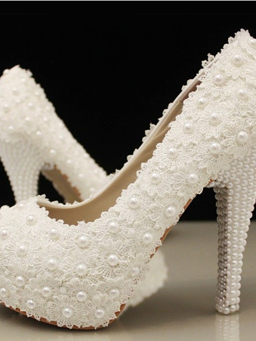 Slip-On Round Toe Stiletto Heel Lace Beads Wedding Shoes