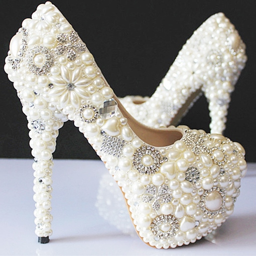 Rhinestone Pearls High Heel Wedding Shoes