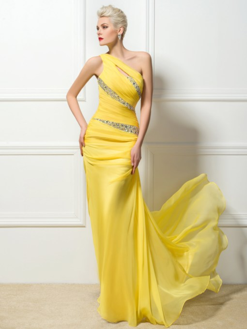 Sheath One-Shoulder Beading Pleats Floor Length Prom Dress
