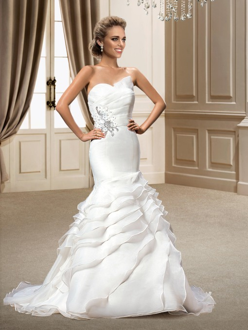 Sequins Mermaid Tiered Ruffles Chapel Train Wedding Dress