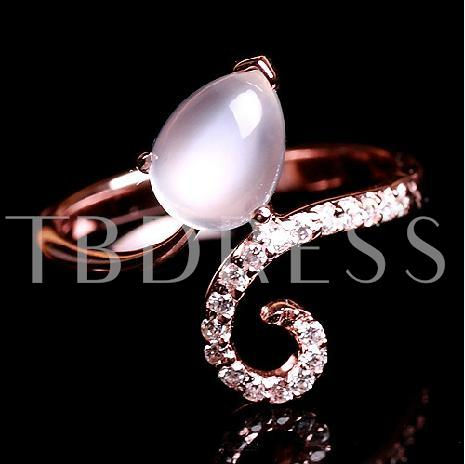 925 Silver Natural Moonstone Lady's Ring