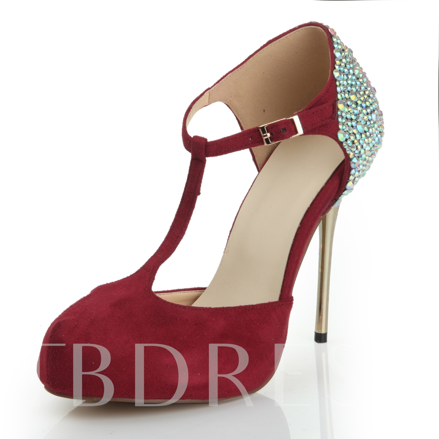 Red Deluxe Stiletto Heel Beading Slingback Women's Pumps