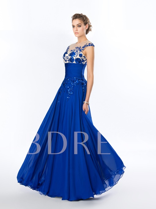 A-Line Jewel Neck Appliques Evening Dress