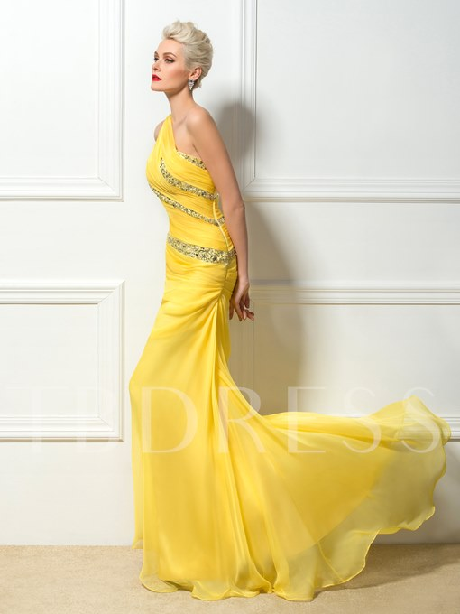 One-Shoulder Beading Floor Length Sweep Train Prom Dress