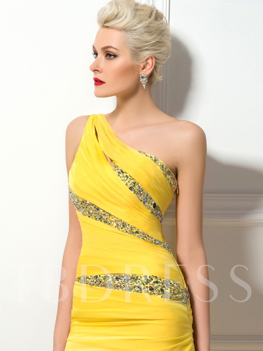 Sheath One Shoulder Beading Pleats Evening Dress