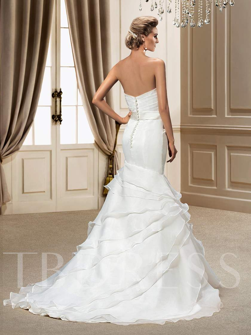 Trumpet/Mermaid Sweetheart Ruffles Chapel Train Wedding Dress
