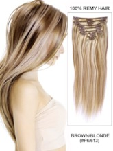 Natural Straight Remy Human Hair Clip in Extensions 7PCS