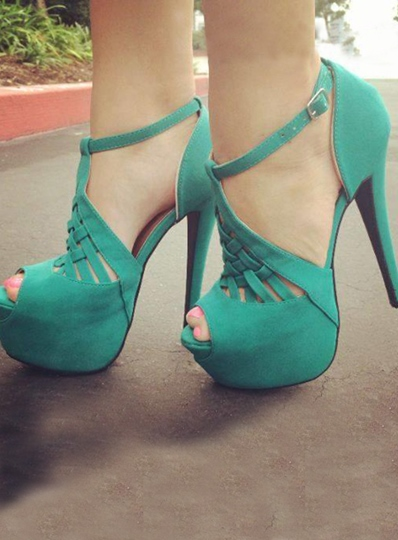 Green Peep Toe Multi Strap Stiletto Heel Women's Pumps