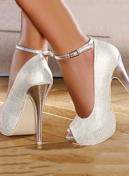 Silvery White Peep Toe Strap Stiletto Heel Pumps(Plus Size Available)