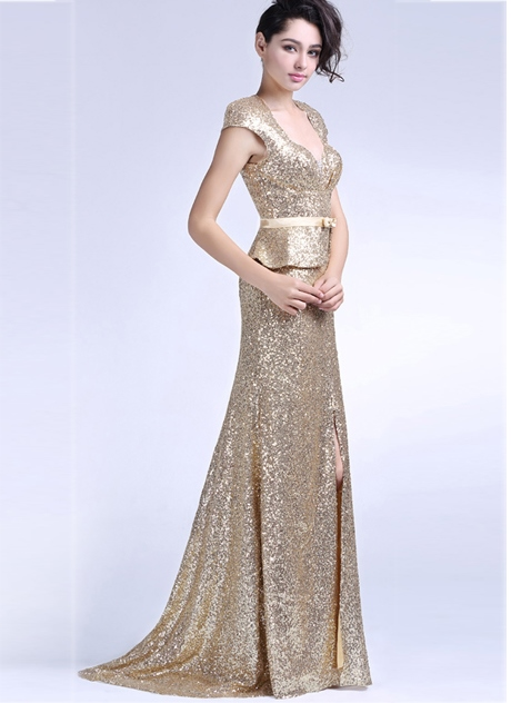 Sheath Square Cap Sleeves Split Front Sequins Evening Dress