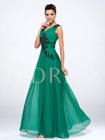 V-Neck Sequins Appliques Zipper-up Floor-Length Evening Dress