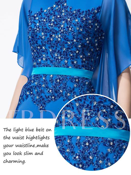 Sheath Appliques Bateau Evening Dress