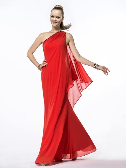 One-Shoulder Sequins Beading Floor Length Evening/Prom Dress