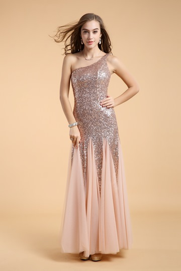 Elegent A-Line One Shoulder Sequins Floor-Length Evening Dress