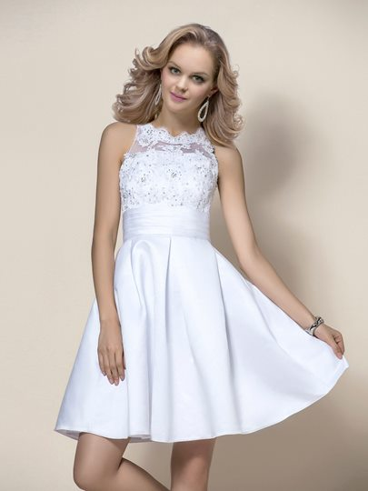 Short/Mini Beading Appliques High-Neck Wedding Dress